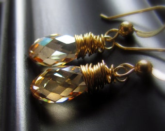 Champagne Crystal Earrings, Gold Filled, Dangle, Swarovski Crystal, Golden Shadow, Wire Wrapped, Dainty, Bridesmaid Earrings