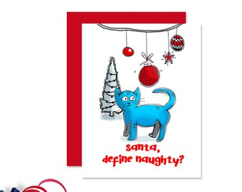Cat Christmas Card - Casper the Cat - Cat Christmas - Cat Greeting Card - HC 017-CC Casper the Cat
