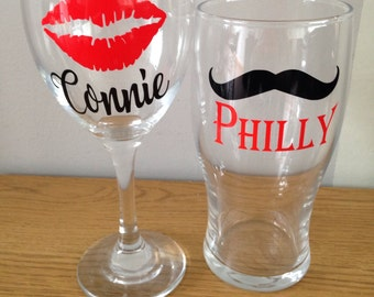 gift for couples, Lipstick wine glass, moustache glass, his and hers glasses, funny toasting gift, valentine, wedding gift, anniversary gift