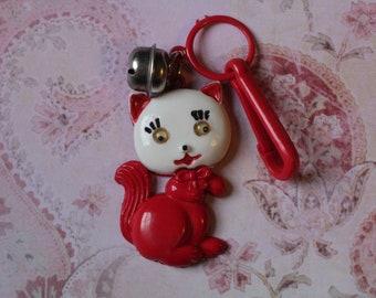 Jahrgang Bell Charme rote katze Kitty mit Google Augen - Charme-Armband - Halskette - Retro Schlüsselanhänger-Clip - Reißverschluss ziehen Kitsch Kawaii Mini 80er Jahre