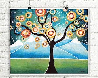 Tree Print Abstract Landscape Curly Tree of Life Wall Art, Mountain Art Whimsical Tree, Nature Lover Gift