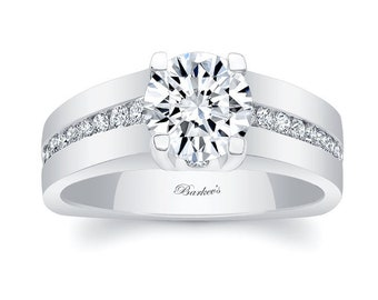 Barkevs Unique White Gold Engagement Ring, Forever One Moissanite Engagement Ring, Available with Diamond or Moissanite Center Stone, 6323L