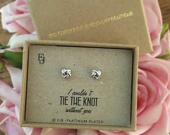 """Platinum Plated """"Tie the Knot"""" Studs"""