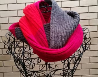 Beautiful bright hand knitted infinity scarf/cowl