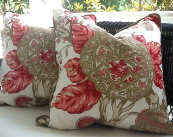 """Schumacher Pillow Cover in Soft red, Tan and Khaki Floral """"Mandalay"""" Linen"""