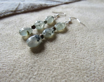Prehnite and Rhyolite Earrings, Healing Stone, Sterling Silver, Forgiveness and Move On, Forgive and Forget Energy Jewelry, Grief Healing