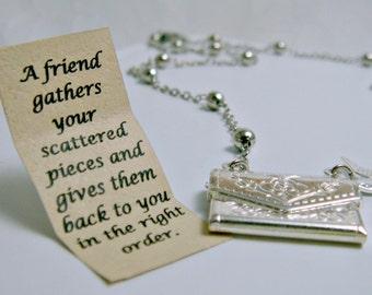 Letter Locket Necklace, Envelope Necklace, Friendship Necklace, Bird Necklace, Silver Personalized Necklace, Secret Message