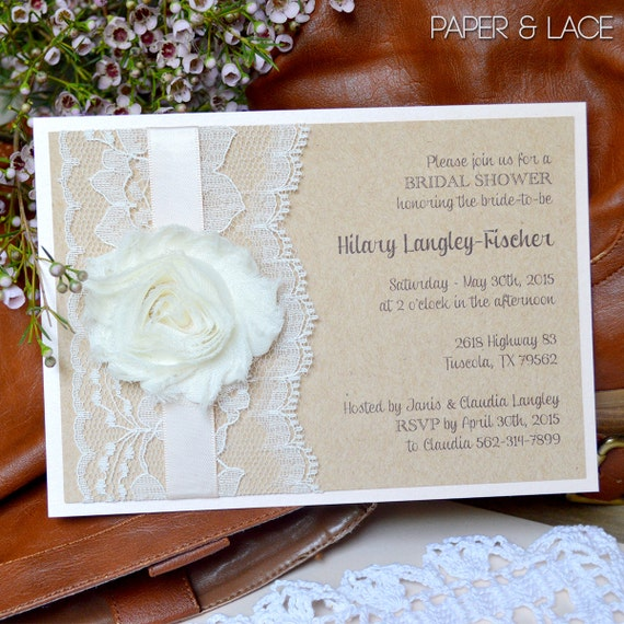 HILARY - Rustic Bridal Shower Invitation - Country Lace Bridal Shower Invite - Blush Bridal Shower Invitation - Chiffon Flower Invitation