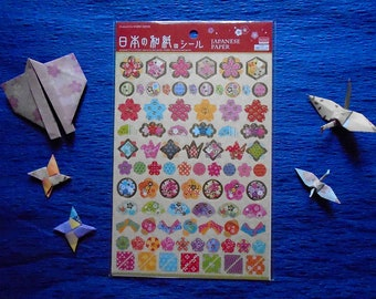 Japanese Traditional Art Washi Paper Stickers, Stickers of Japanese Cherry Blossom Flowers SAKURA & Origami Cranes ORIZURU, Sticker Sheet