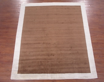 8X10 Modern Oriental Wool Carpet - Hand-Knotted Brown Area Rug with Ivory Border (8.3 x 9.11)