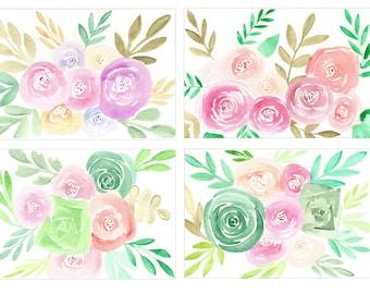Watercolor Floral & Succulent Postcards (Set of 4)