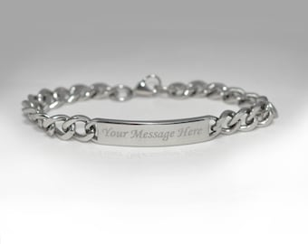 Personalized Custom Stainless Steel Cuban Curb Chain ID Bracelet Free Engraving