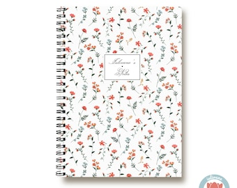 Bullet Journal Notebook - Small Orange Flowers - Custom Notebook Floral Journal Sketchbook Spiral Notebook Schrift Girlfriend Gift 1N