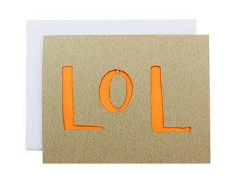 Friendship Card - LOL laser cut modern texting card