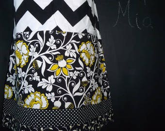 Sample SALE - Will fit Size S/M - Ready to MAIL - Patchwork Pencil SKIRT - Black and White Chevron - by Boutique Mia