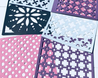 Punched paper 4 designs 15 x 15 cm 24 sheets (CR01)