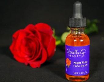 Night Rose Face Serum - Anti-Aging Skin Care - All Natural Moisturizer - Face Moisturizer - Fine Lines & Wrinkles - Soft Skin - Facial Serum