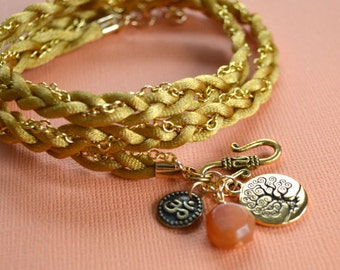 Root Chakra Gold Satin And Chain Bracelet Red Aventurine Tree of Life Om Yoga Wrap First Chakra