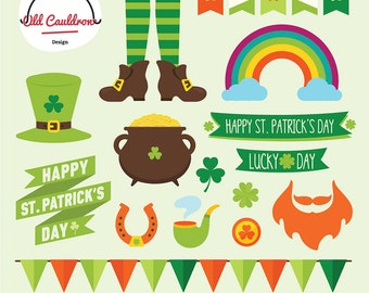 St. Patrick's day clipart commercial use, clover clipart, vector graphics, digital clip art, digital images CL027
