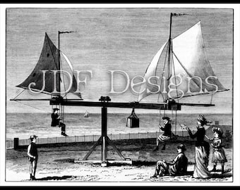 Instant Digital Download, Antique Victorian Era Graphic, Steampunk Style Image, Sail-Go-Round Engraving, Beach Toys, Inventions, Children