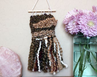 Shades of Brown Mini Wall Tapestry - Handwoven Miniature Wall Hanging - College Dorm Room Decoration - Bohemian Style Weaving - Boho Decor