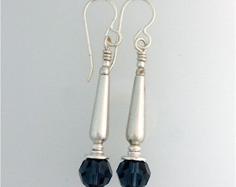 Swarovski Montana Sapphire and Sterling Silver Earrings