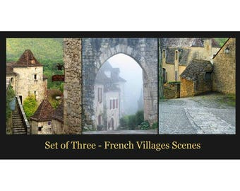 """SET OF THREE Complimenting Prints - Fine Art Color Travel Photography of France - """"French Village Scenes 2"""""""