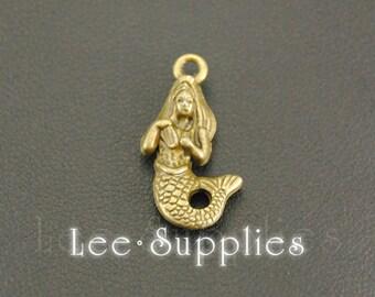 10pcs Antique Bronze Alloy Mini Mermaid Charms Pendant A638