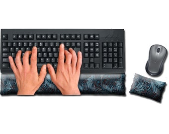 Keyboard and Mouse Ergonomic Wrist Rest Pad Set Handmade - Desktop Laptop - Flax Seed Fill Optional Scent - Satin / Velvet - Dark Turquoise