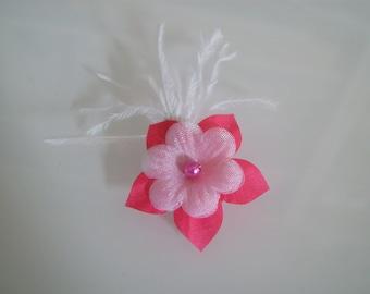 Clip/Barrette/bun/pin / hair accessory p pink/Fuchsia/white bridal/wedding/evening/cocktail dress ceremony/flower child girl woman (cheap)