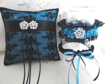 Victorian Black Lace Crystals  Ring Pillow Wedding Garter Set• Wedding Accessory• Bridal Garter&Pillow Ring Set•Toss Garter•Keepsake Garter