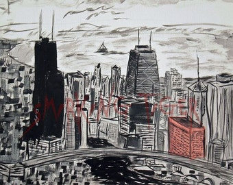 Chicago Art Print 1: Chicago Skyline featuring The Sears Tower, The Hancock Building and Lake Michigan, 11X14