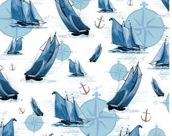 Quilting Treasures - Elizabeth Munro - Sail Away - Sailboat & Compasses