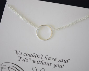 3 Infinity Bridesmaid Necklace, Ring Bridesmaid Gift, Thank You Card, Sterling Silver Karma Necklace, Mother of the Bride, Silver