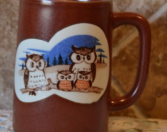 "Cute Vintage Owl Mug~Just Under 5"" Tall~Whoooooo Needs This Mug?  EUC~Brown Ceramic"