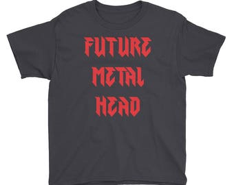 Red Future Metal Head kid's Youth Short Sleeve T-Shirt