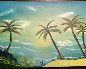 Ocean View - oil painting 11 x 16 inches canvas (Nature, Landscape)
