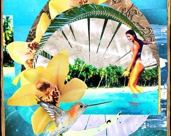 NEW! JOSIE SLIDE, 3 Sizes, 8x10, 11x14, 16x20, Hand Signed Matted Print, Surfing, Surf Art, サーフ, surfer, Orchids, wave, Surf, humming bird