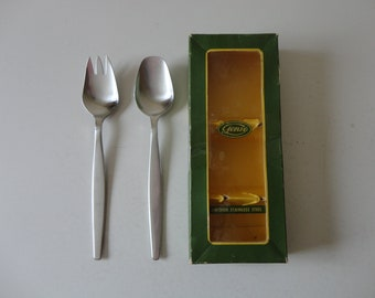 VINTAGE stainless steel SALAD serving fork and spoon SET - gense sweden - 18-8 stainless steel - mid century serving