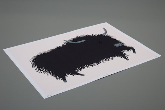 The Yak - Children's Animal Art - Nursery Art - Nursery Decor - Limited Edition - Black and White Print by Oliver Lake - iOTA iLLUSTRATiON