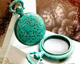 1pc - Handpainted Verdigris Patina Locket Watch Bezel metal charms (18035) 38x26mm, Fit 18mm cabochon