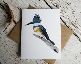 Belted Kingfisher card of Original Collage