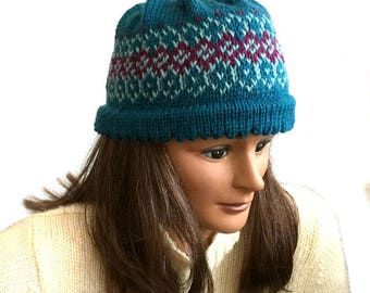 Hand knit wool hat, Fair Isle beanie, womens knit hat, blue knit hat, mens knit hat, blue knit hat, Nordic wool hat, Icelandic knit hat