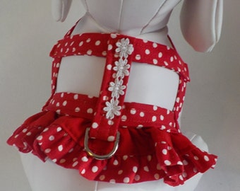 Dog Harness - Dog Clothes - Custom Dog Harness -Red Dots Ruffle - Dog Apparel -  Dog Dress - Small Dog Harness