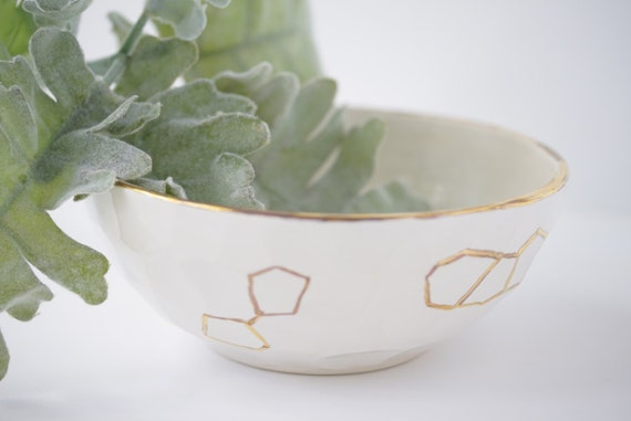 Faceted Mixing & Serving Bowls With 22k Gold Luster Detail Porcelain Nesting IN STOCK
