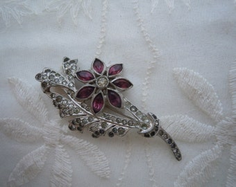 Vintage Rhinestone Flower Brooch Clear & Purple Rhinestones Pin