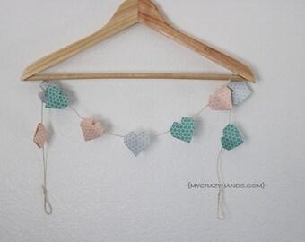 origami 3D heart garland   nursery garland   nursery decor    heart banner    heart bunting -honeycomb pink gray teal