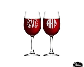 TWO Personalized Wine Glasses, SHIPS FAST, Custom Wine Glasses, Engraved Monogram Wine Glasses, Etched Wine Glasses, Personalized Wine Glass