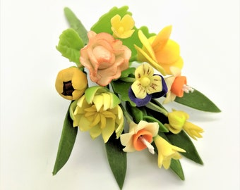 Shining Bouquet Handmade Miniature Polymer Clay Art Flowers for Dollhouse and Wedding Gifts