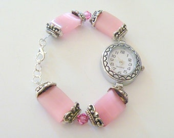 Pink Cats Eye Beaded Watch with Quartz Watch